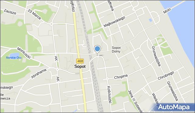 Sopot, Plac Konstytucji 3 Maja, mapa Sopotu