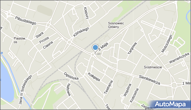 Sosnowiec, Plac Ćwierka Konstantego, mapa Sosnowca