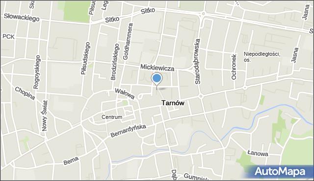 Tarnów, Plac Więźniów KL Auschwitz, mapa Tarnów