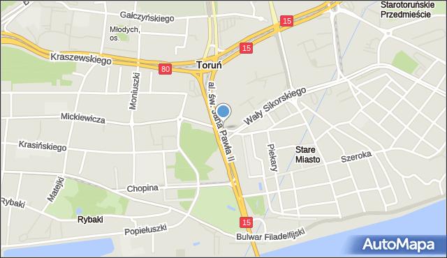 Toruń, Plac Artylerii Polskiej, mapa Torunia