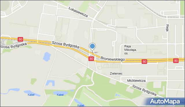 Toruń, Plac Skalskiego Stanisława, gen. pil., mapa Torunia