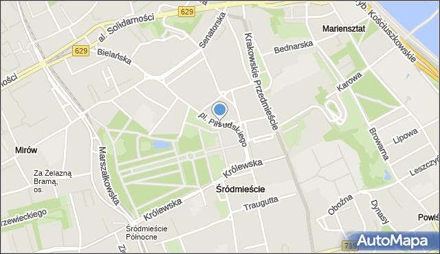 Warszawa, Plac Piłsudskiego Józefa, marsz., mapa Warszawy