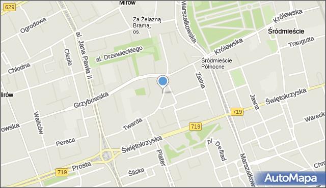 Warszawa, Plac Grzybowski, mapa Warszawy