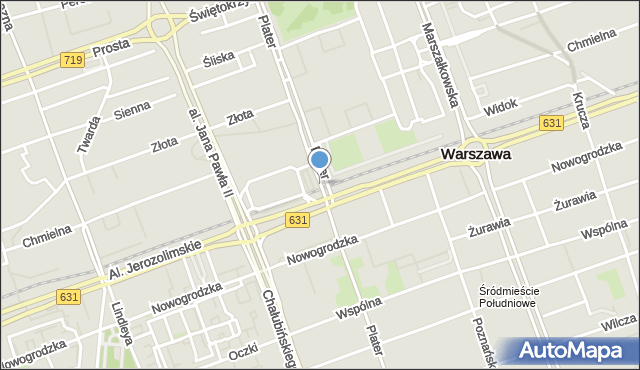Warszawa, Plater Emilii, mapa Warszawy