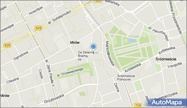 Warszawa, Plac Żelaznej Bramy, mapa Warszawy