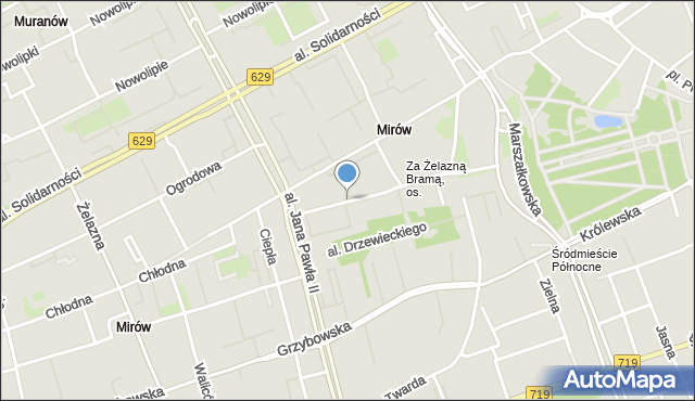 Warszawa, Plac Mirowski, mapa Warszawy