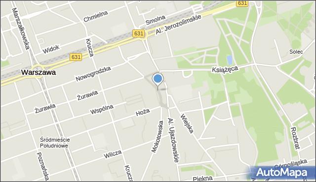 Warszawa, Plac Trzech Krzyży, mapa Warszawy