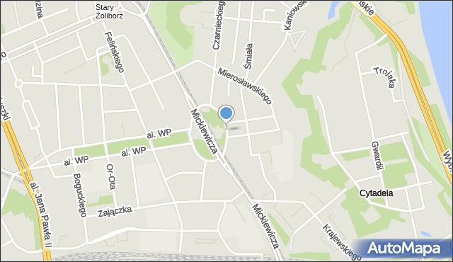Warszawa, Plac Inwalidów, mapa Warszawy