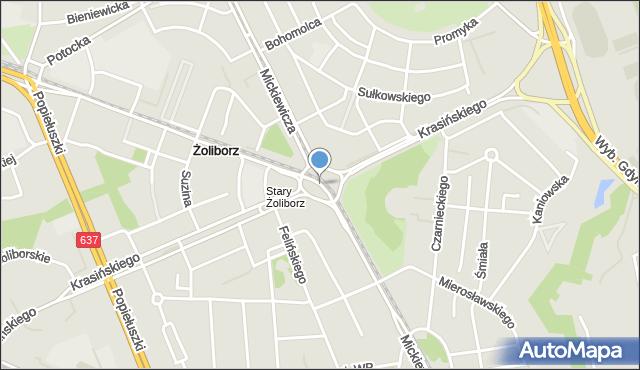 Warszawa, Plac Wilsona Thomasa Woodrowa, mapa Warszawy