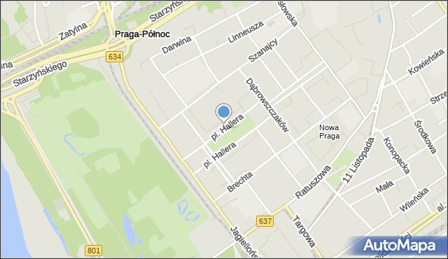 Warszawa, Plac Hallera Józefa, gen., mapa Warszawy