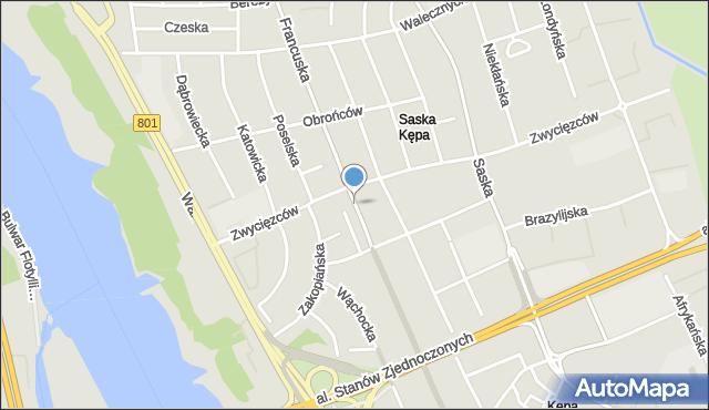 Warszawa, Plac Przymierza, mapa Warszawy