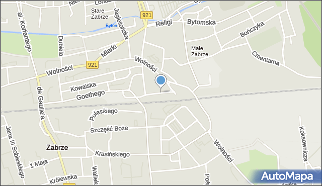 Zabrze, Plac Dworcowy, mapa Zabrza