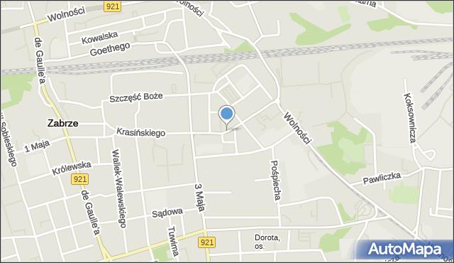 Zabrze, Plac Krakowski, mapa Zabrza