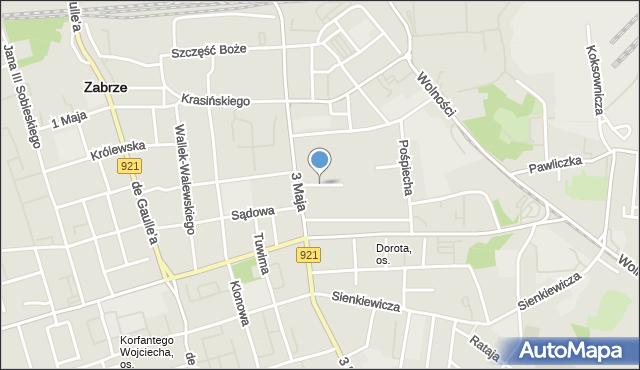Zabrze, Plac Pieruszki Franciszka, ks., mapa Zabrza