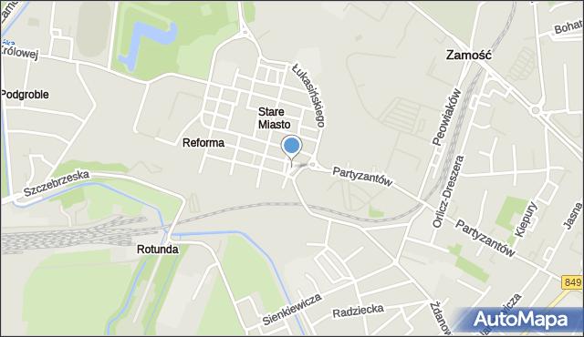 Zamość, Plac Wolności, mapa Zamościa