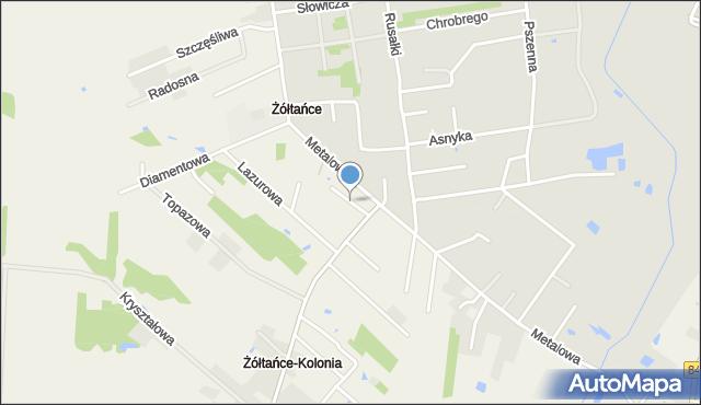 Żółtańce-Kolonia, Platynowa, mapa Żółtańce-Kolonia