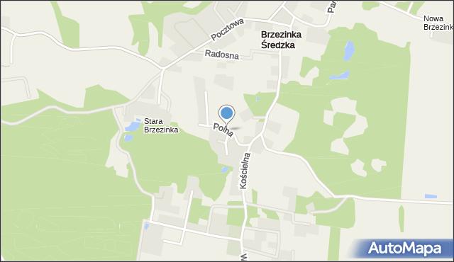 Brzezinka Średzka, Polna, mapa Brzezinka Średzka