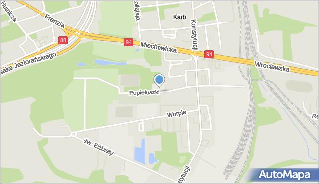 Bytom, Popiełuszki Jerzego, bł. ks., mapa Bytomia