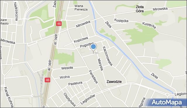 Częstochowa, Podwójna, mapa Częstochowy