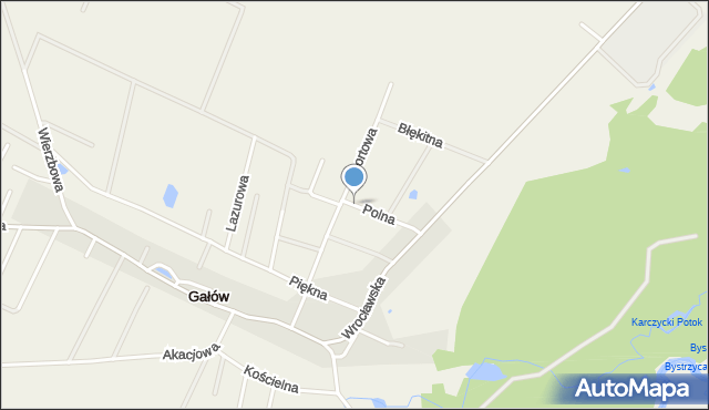 Gałów, Polna, mapa Gałów