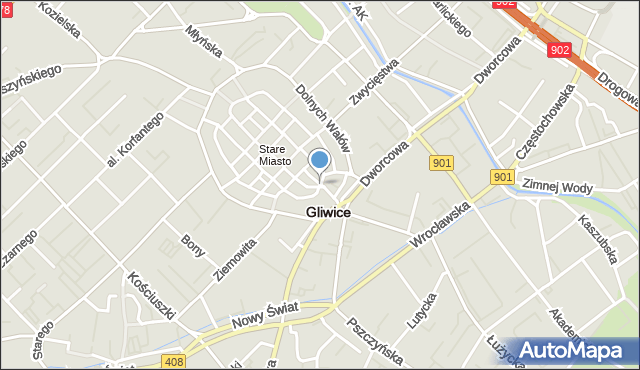 Gliwice, Pod Murami, mapa Gliwic