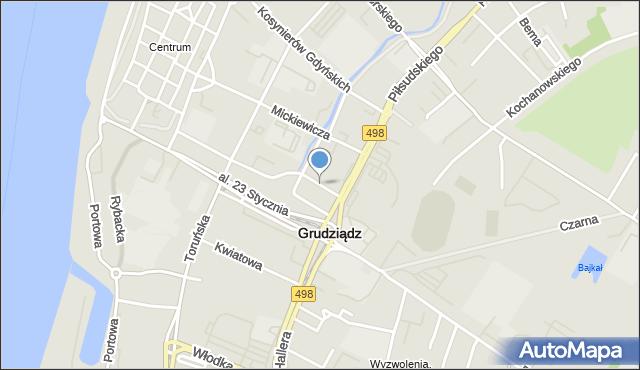 Grudziądz, Polskiego Czerwonego Krzyża, mapa Grudziądza