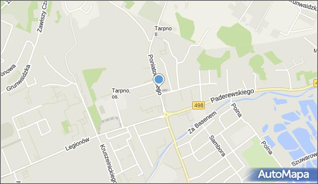 Grudziądz, Poniatowskiego, mapa Grudziądza
