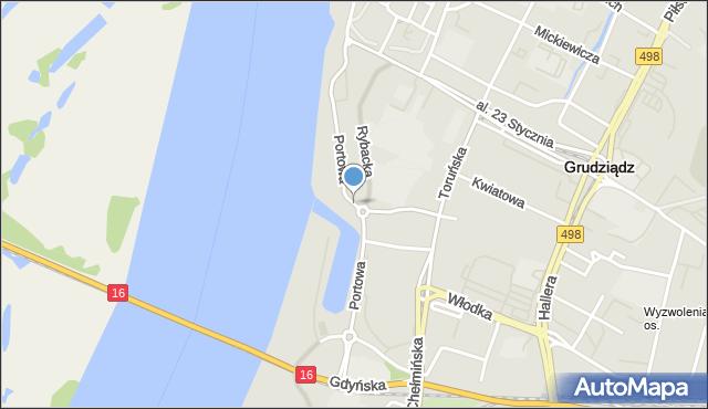 Grudziądz, Portowa, mapa Grudziądza