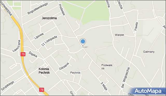 Jaworzno, Podwale, mapa Jaworzno