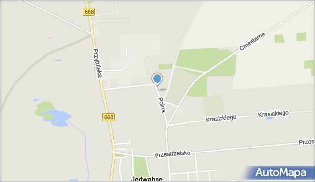 Jedwabne, Polna, mapa Jedwabne