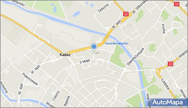 Kalisz, Podwale, mapa Kalisza