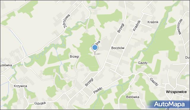 Lusina gmina Mogilany, Polna, mapa Lusina gmina Mogilany