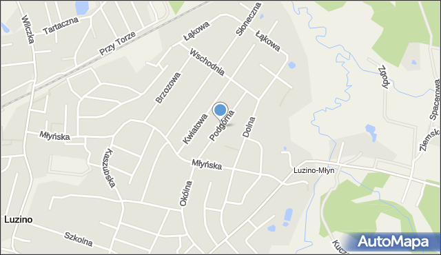 Luzino, Podgórna, mapa Luzino