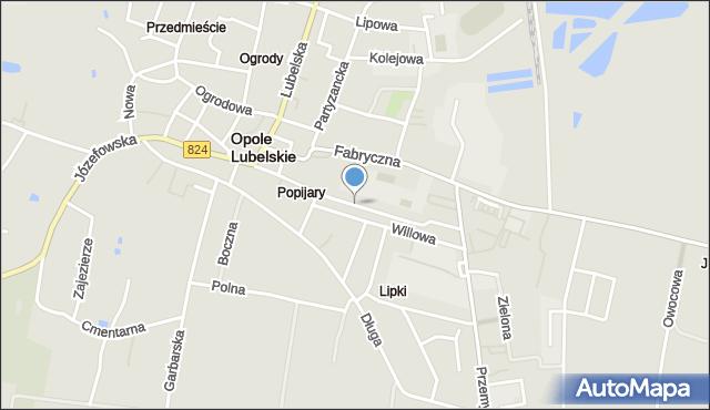 Opole Lubelskie, Popijarska, mapa Opole Lubelskie