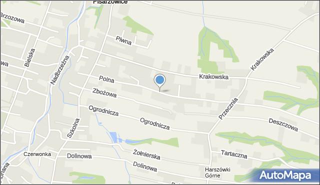 Pisarzowice gmina Wilamowice, Polna, mapa Pisarzowice gmina Wilamowice