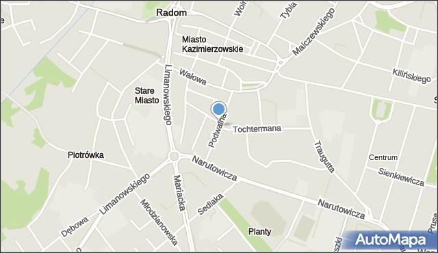 Radom, Podwalna, mapa Radomia