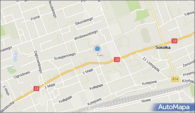 Sokółka, Pocztowa, mapa Sokółka
