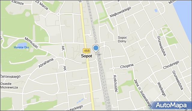 Sopot, Podjazd, mapa Sopotu