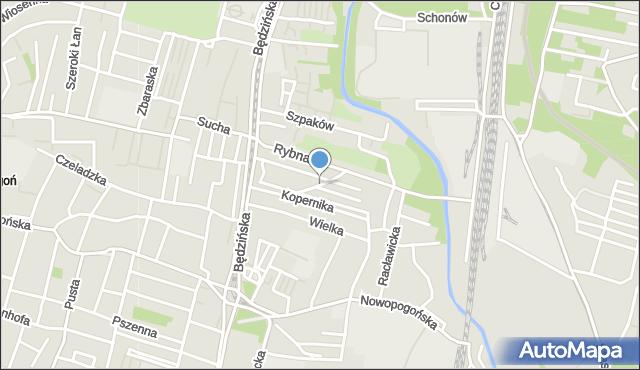 Sosnowiec, Poprzeczna, mapa Sosnowca