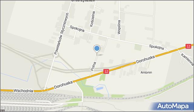 Srebrzyszcze, Polna, mapa Srebrzyszcze