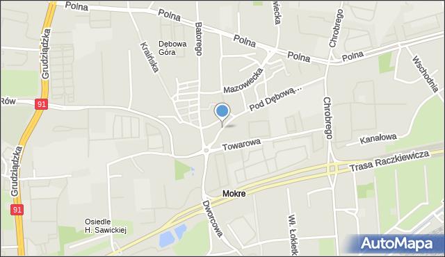 Toruń, Pod Dębową Górą, mapa Torunia