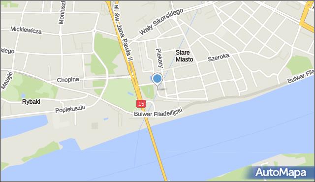 Toruń, Pod Krzywą Wieżą, mapa Torunia