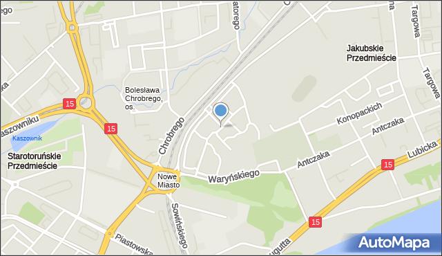 Toruń, Podchorążych, mapa Torunia