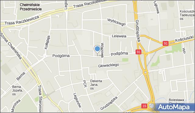 Toruń, Podgórna, mapa Torunia