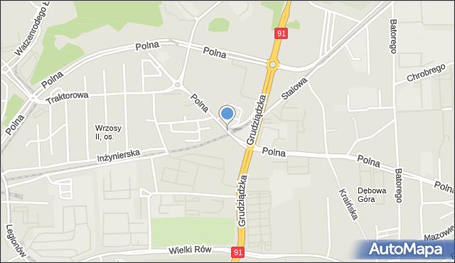 Toruń, Polna, mapa Torunia