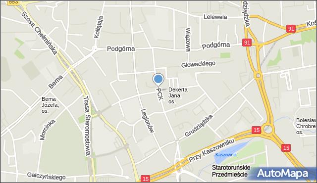 Toruń, Polskiego Czerwonego Krzyża, mapa Torunia