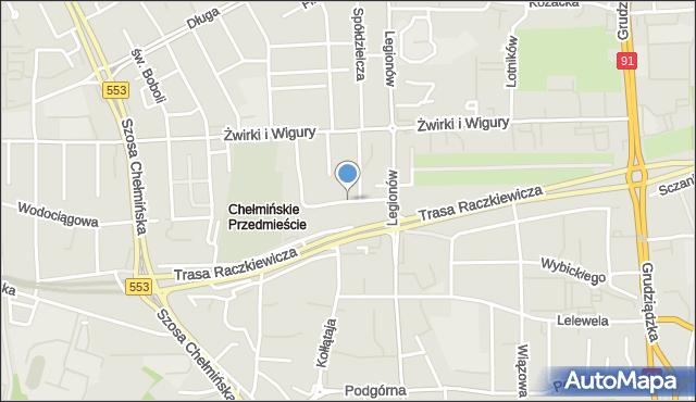 Toruń, Popiela, mapa Torunia