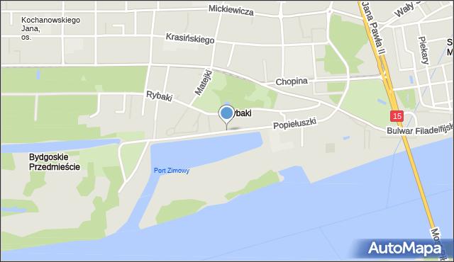 Toruń, Popiełuszki Jerzego, bł. ks., mapa Torunia