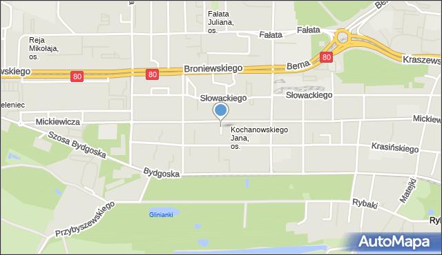 Toruń, Poprzeczna, mapa Torunia