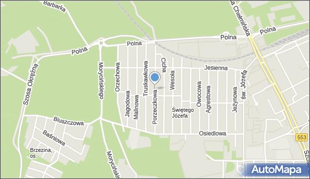 Toruń, Porzeczkowa, mapa Torunia